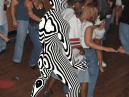 black and white rainbow man getting in on the dance hump action
